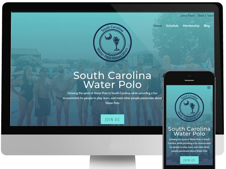 Desktop and phone showing South Carolina Water Polo's website